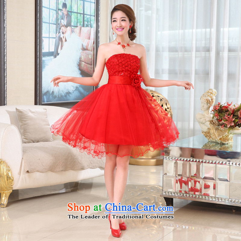 Kaki-hi-won The Princess Bride flowers anointed chest wedding dresses bridesmaid to serve the new 2015 autumn and winter X003 Red L