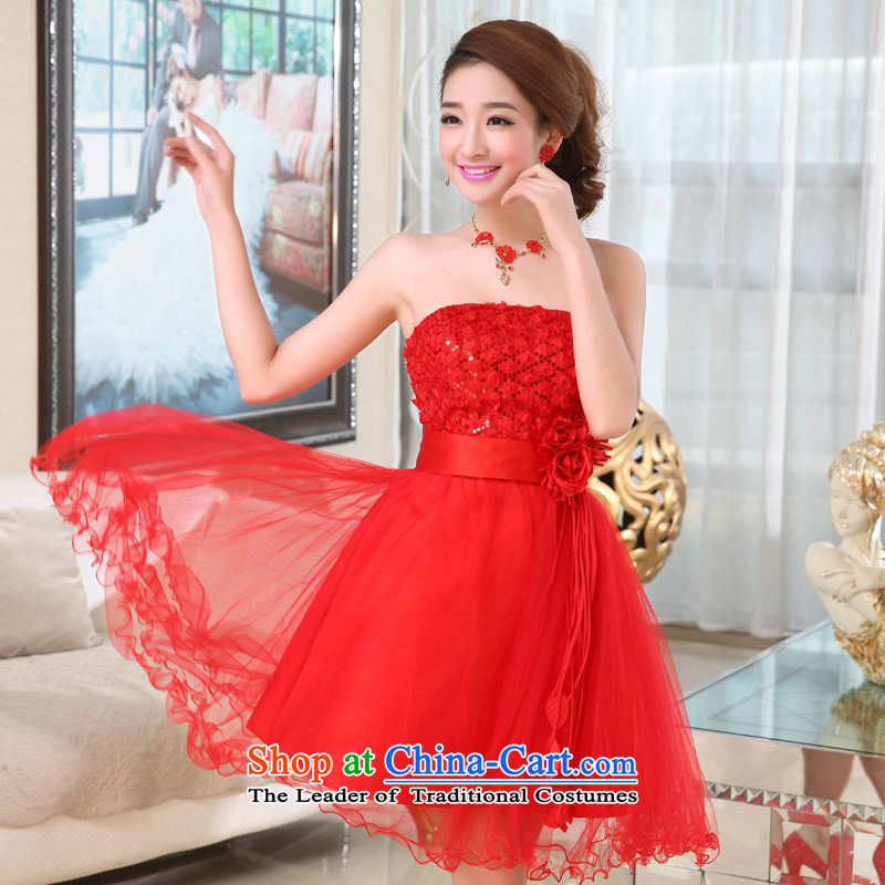 Kaki-hi-won The Princess Bride flowers anointed chest wedding dresses bridesmaid to serve the new 2015 autumn and winter X003 Red , L-hi kaki shopping on the Internet has been pressed.