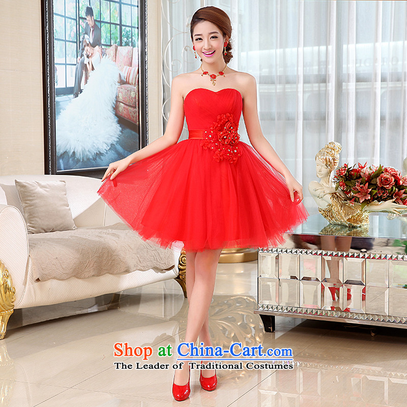 Kaki-hi-won The Princess Bride flowers anointed chest wedding dresses bridesmaid to serve the new 2015 autumn and winter X001 Red?XL