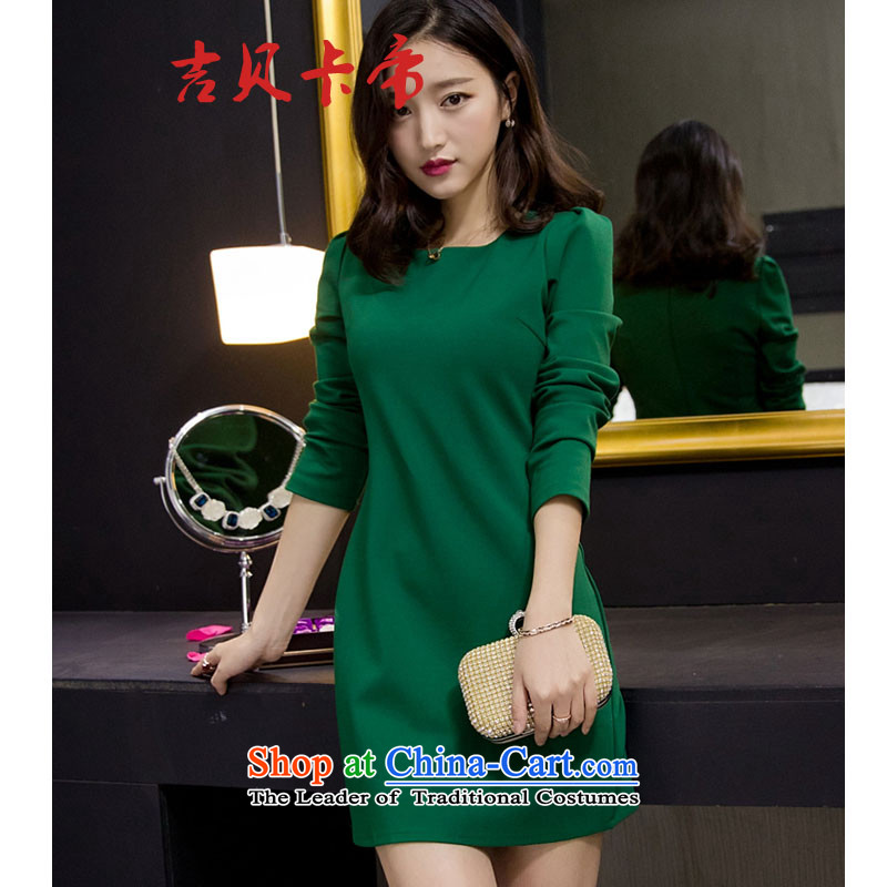 Gibez card in Dili 6099# Spring Korean aristocratic temperament dress long-sleeved red forming the Sau San dresses green?XL