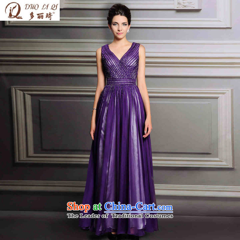 Doris Qi purple evening dress long V-Neck banquet dress aristocratic evening attended the ceremony picture color�XL