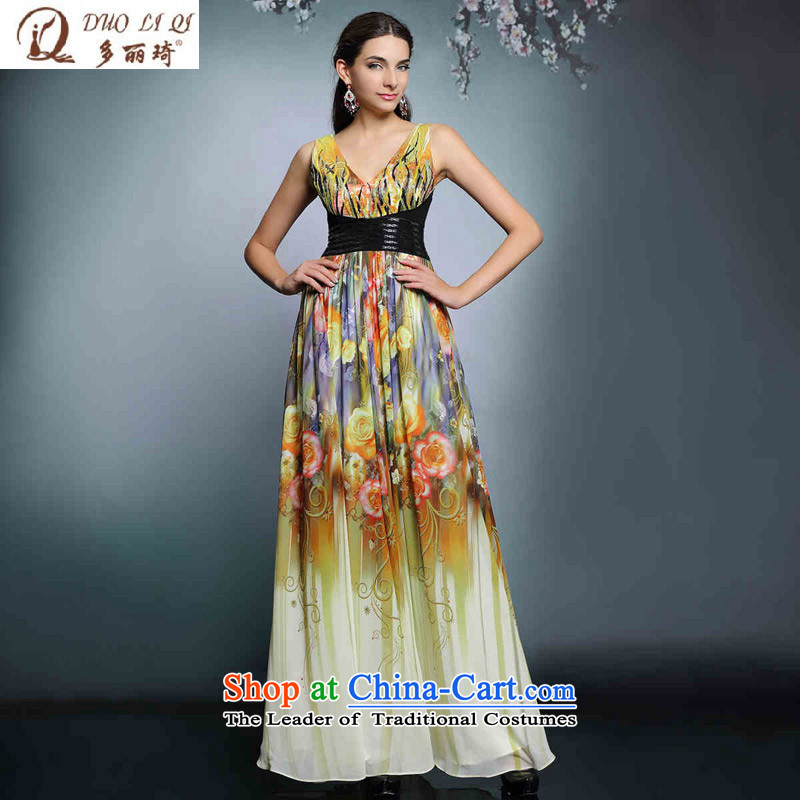 Doris Qi long high-waist dress suit pregnant women V-Neck Sau San evening dress uniform color photo of marriage bows?M