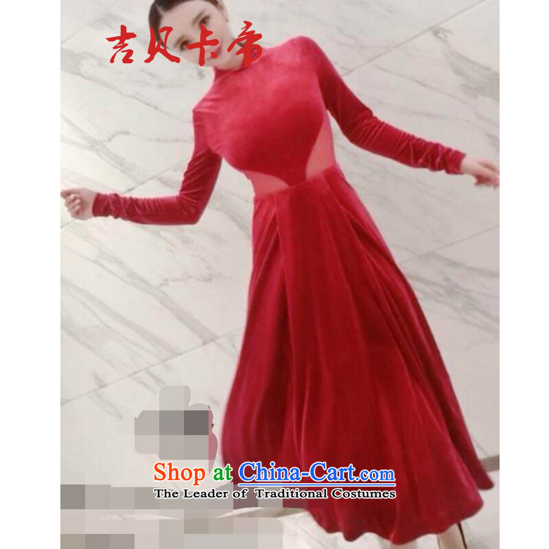 Gibez card in Dili 6311# Korea Dongdaemun Fashion Korean aristocratic sexy bon bon red dress long-sleeved dresses red?S