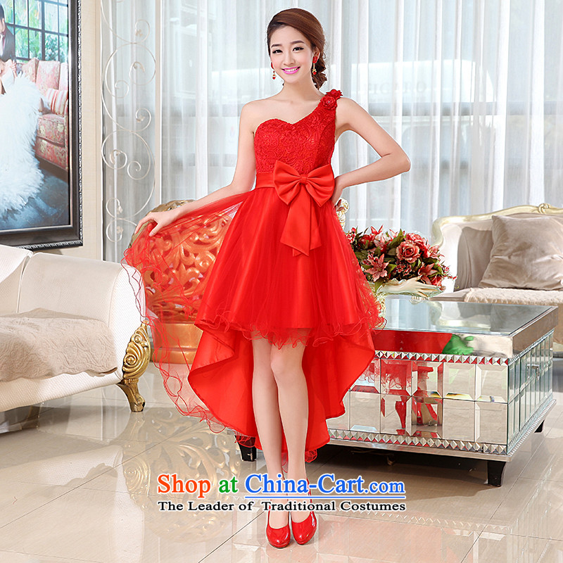 Kaki-hi-won The Princess Bride flowers anointed chest wedding dresses bridesmaid to serve the new 2015 autumn and winter X012 Red?L