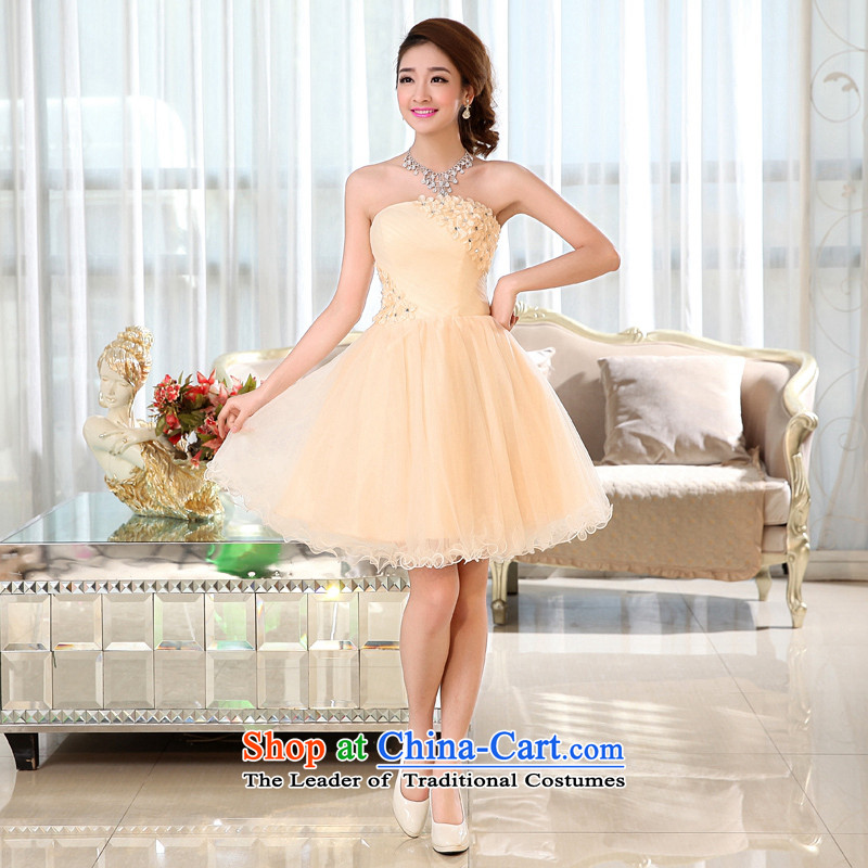 Kaki-hi-won The Princess Bride sexy anointed chest wedding dresses bridesmaid to serve the new 2015 autumn and winter X017 champagne color聽M