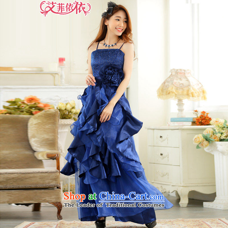 Of the three-dimensional large flower layers of glued to the long evening dresses 2015 Korean New Sweet banquet annual meeting of persons chairing the cake dress skirt 5648 Royal Blue XXXL code