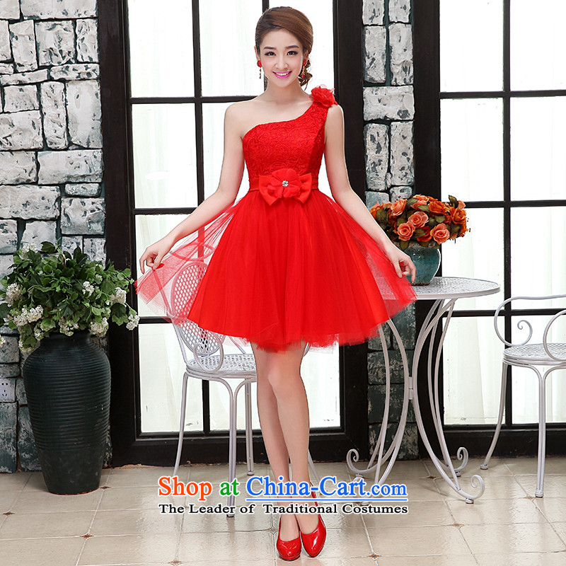 Hei Kaki wedding dresses 2015 new shoulder Korean Princess Bride wiping the chest straps short of the irrepressible bon bon skirt bridesmaid X RED?XS