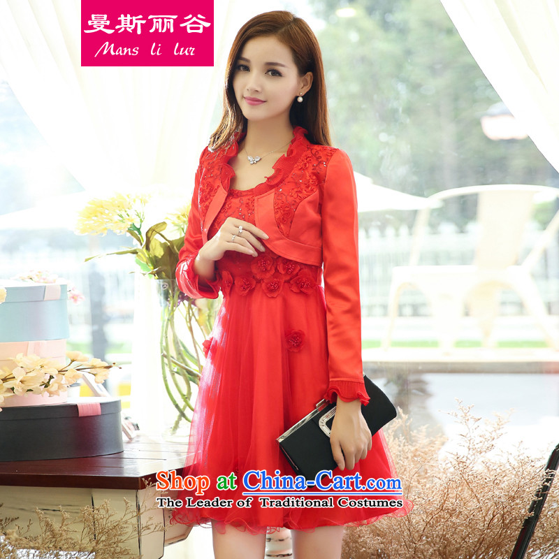 In the autumn of 2015 on Lai Valley New wedding dresses kit female sleeveless dresses two kits bows to female red 05 A, XXL