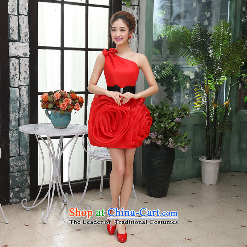 Kaki-hi-won The Princess Bride flowers anointed chest wedding dresses bridesmaid to serve the new 2015 autumn and winter X020 RED?XS