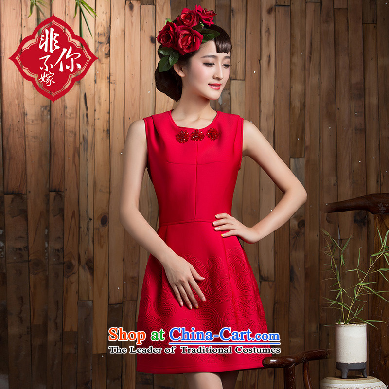 2015 new bows of autumn and winter clothing wedding bride short stylish Sau San Red Dress marriage small red dress?M