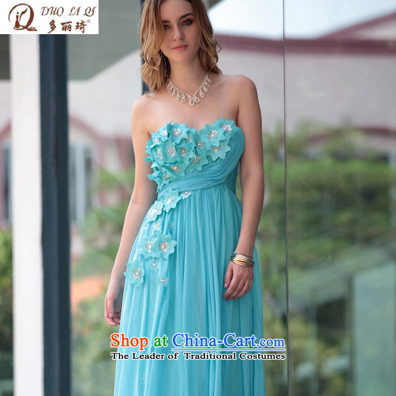 Doris Qi evening dress blue sexy long gown skirt banquet receptions bridal dresses 30585 toasting champagne blue?S
