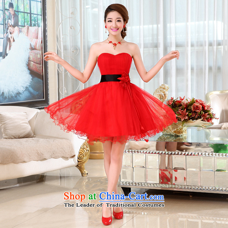 Kaki-hi-won The Princess Bride flowers anointed chest wedding dresses bridesmaid to serve the new 2015 autumn and winter X018 RED?XS