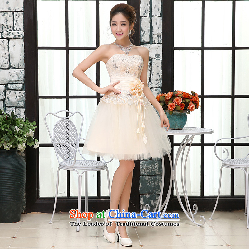 Kaki-hi-won The Princess Bride heart-shaped anointed chest wedding dresses bridesmaid to serve the new 2015 autumn and winter X008 champagne color聽XL