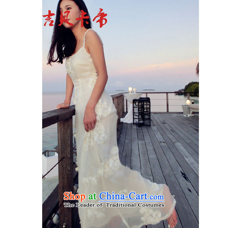 Gibez card in Dili headquarters Hon Jasper Tsang Yok-sing Lau 006# woven with deep V White Dress skirt straps long skirt beachfront resort Bohemia beach skirt white?S