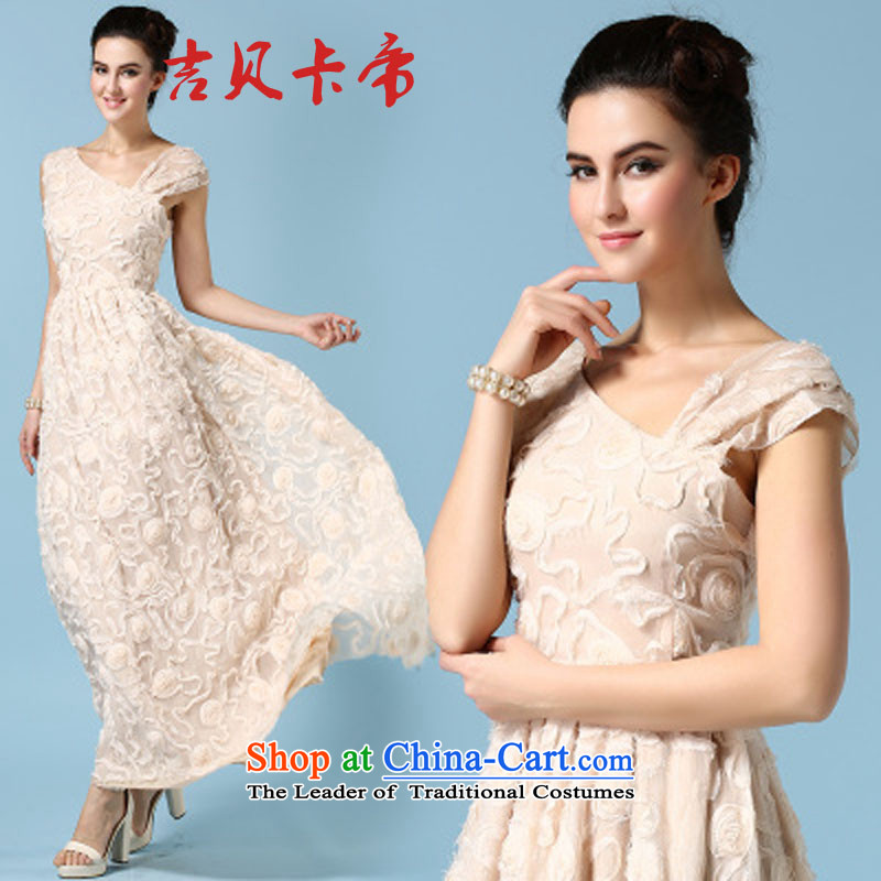Gibez 7009#2015 Timor spring and summer card banquet dress shoulder and chest dresses stereo flower high emulation population to drag the wrinkle long skirt apricot?L