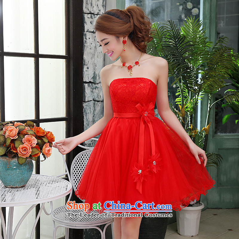 Kaki-hi-won The Princess Bride sexy anointed chest wedding dresses bridesmaid to serve the new 2015 autumn and winter X016 RED聽S