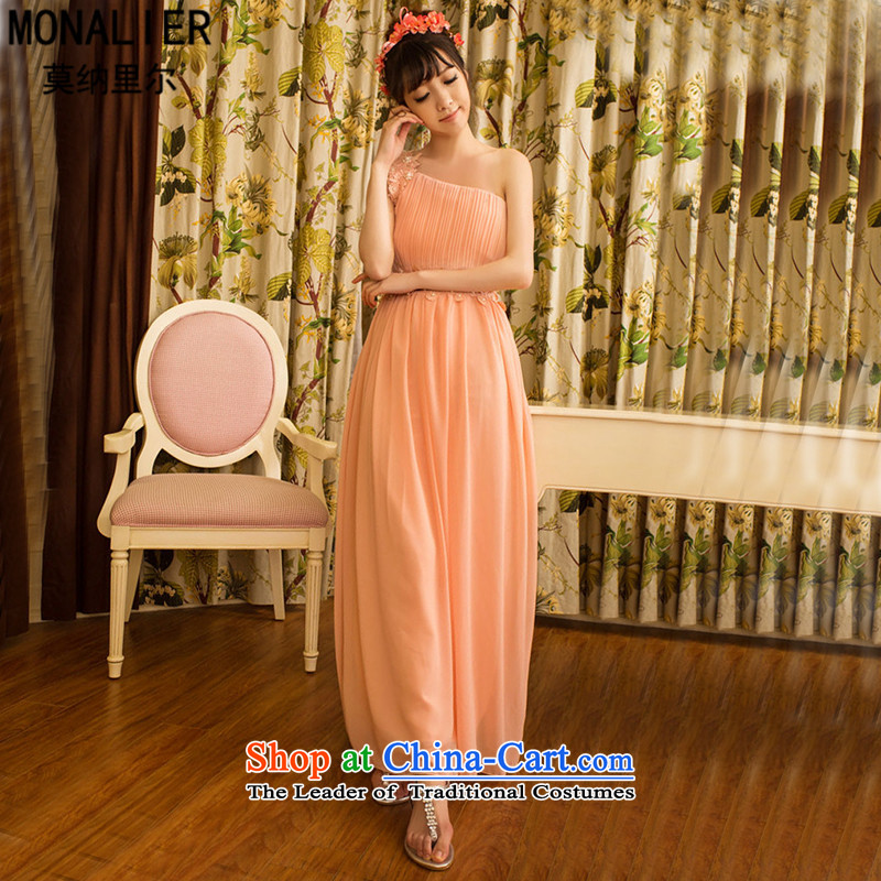 Monari,?early spring 2015 new sweet temperament OL banquet bridesmaid marriage Beveled Shoulder dresses female long skirt dress with the left shoulder straps stealth pink?S