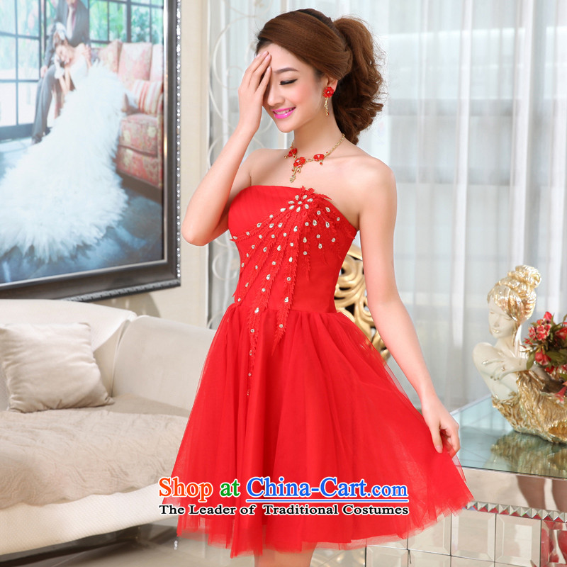 Hei Kaki 2015 autumn and winter new Korean Princess Bride flowers and short of chest services X019 BRIDESMAID RED聽M