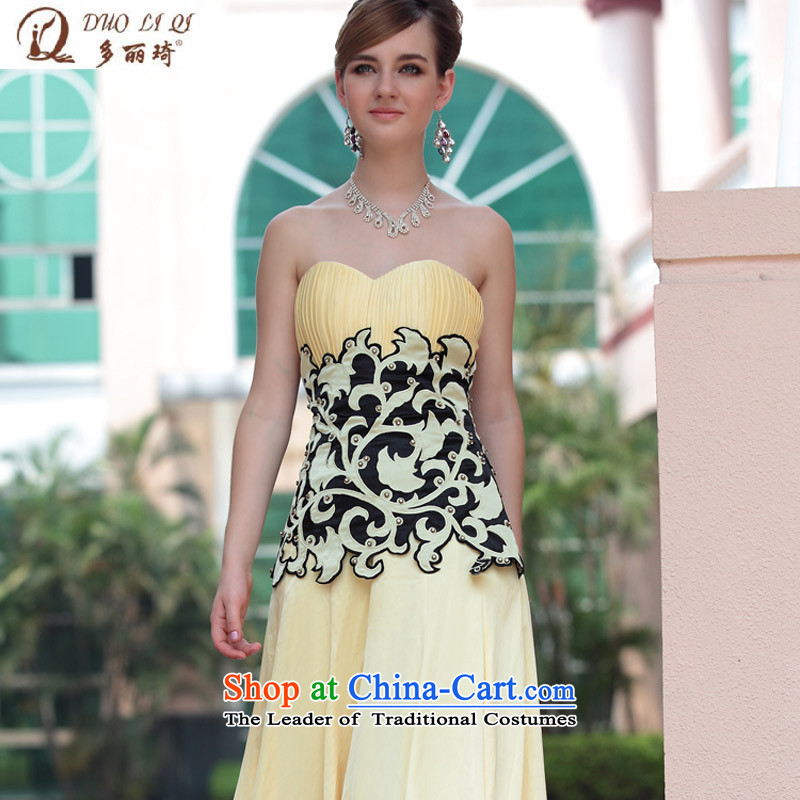 Doris Qi yellow marriage bridesmaid evening dresses and chest banquet receptions long gown Yellow聽XL