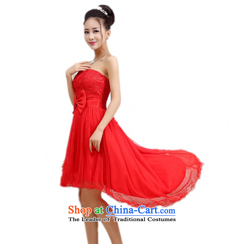 C.o.d. Package Mail New wedding dresses large red anointed chest dovetail dresses gauze bows dress bridesmaid sister and long annual show slips red are code