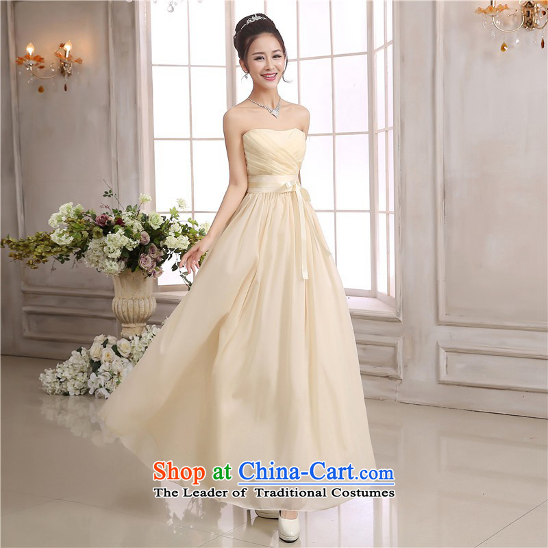 C.o.d. Package Mail New chiffon small dress ribbon waist and chest straps dresses annual ritual dress wedding night wear bridesmaid short skirts and sisters long skirt champagne color are code