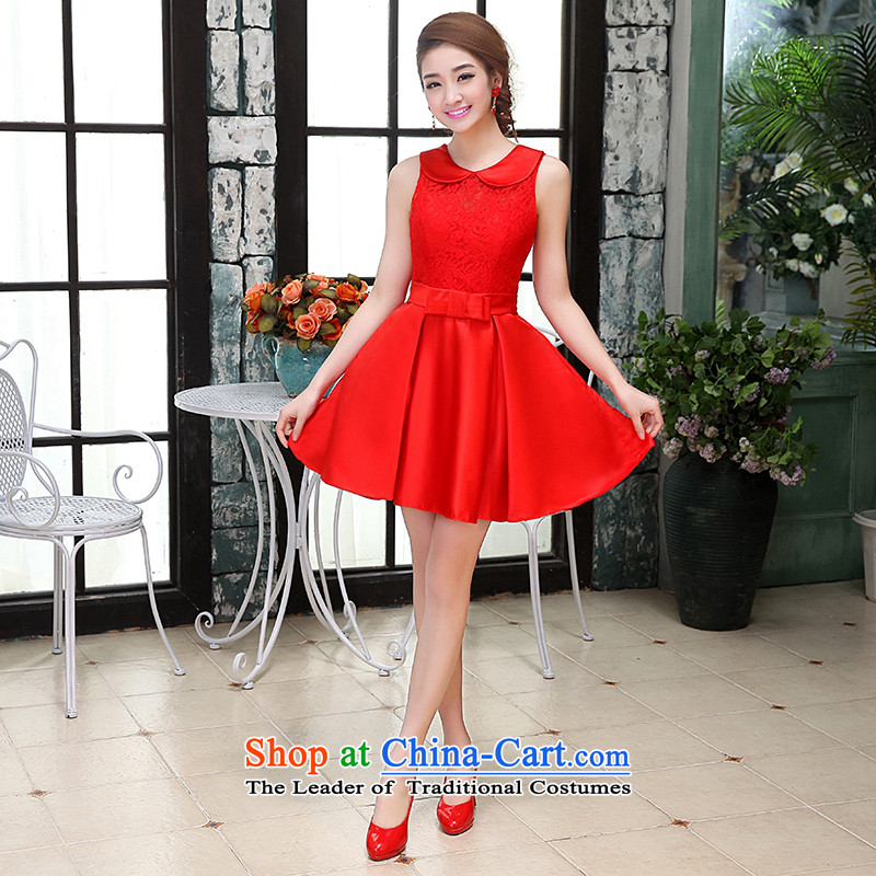 Hei Kaki wedding dresses 2015 new Korean autumn and winter and sexy loose bon bon skirt shoulders princess short skirts bridesmaid X007 services red?L