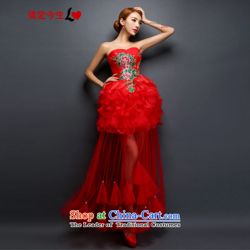 Love of the overcharged by 2015 new dress China wind long embroidery red retro dresses to marry field shoulder and chest two models to wipe the Chest)�M 2 feet waist