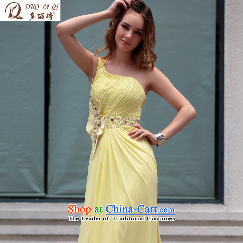 Doris Qi dress reception banquet evening dress wiping the scoops dress wedding dresses Yellow聽XL