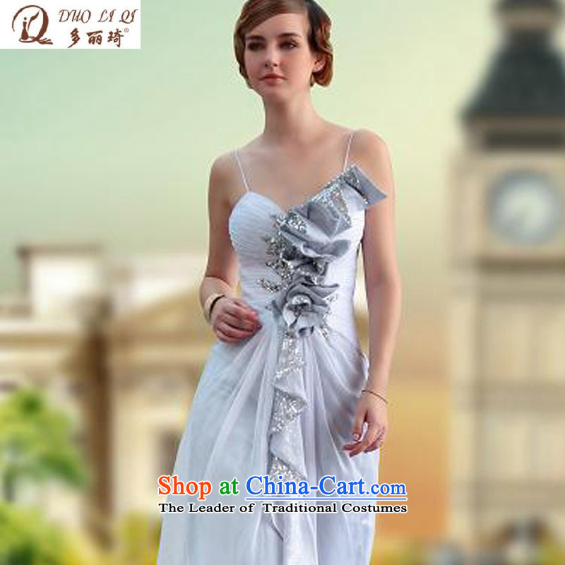 Doris Qi straps long evening dresses wedding dresses Evening Compere Auditorium performances dress 30637 Silver聽XL