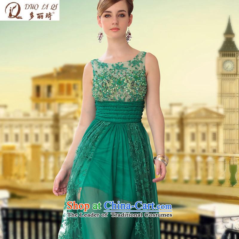 Doris Qi transparent web silk chiffon dress Cyan Party dancing dress 30650 picture colorXL