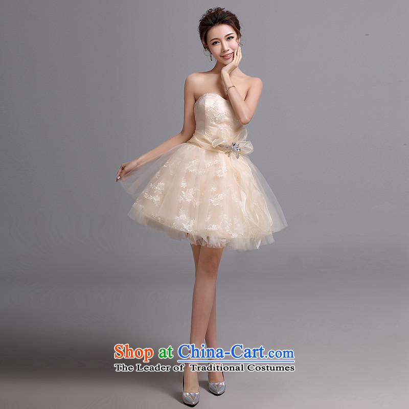 Hei Kaki wedding dresses new 2015 autumn and winter Korean brides short, wipe the Chest Sau San banquet bridesmaid dress X034 champagne color left tailored Size
