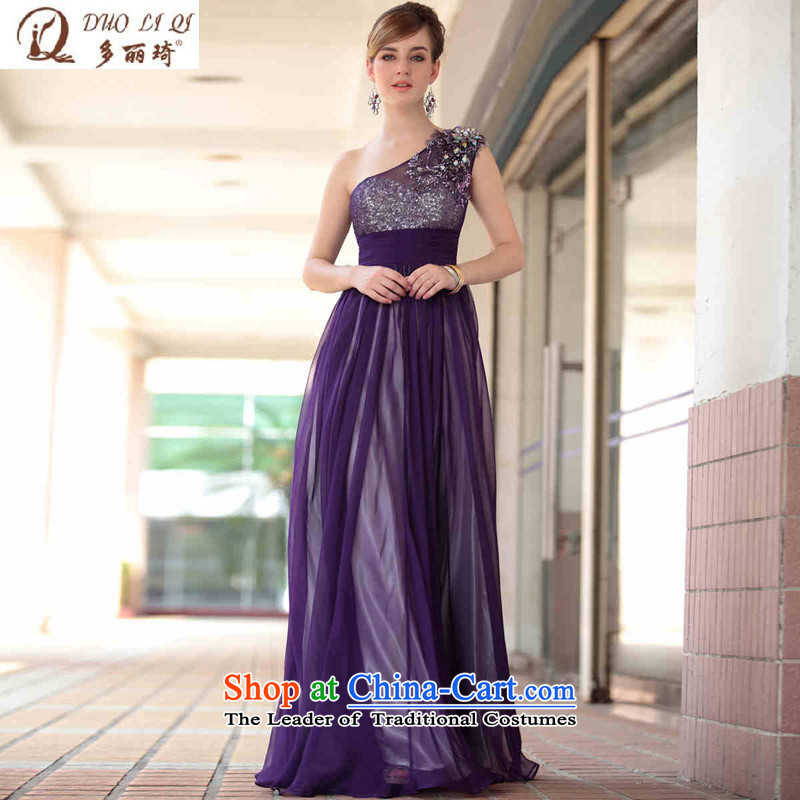 Doris Qi purple shoulder dress nightclubs dress balls evening dress in Europe under the auspices of the annual dinner dress purple?S
