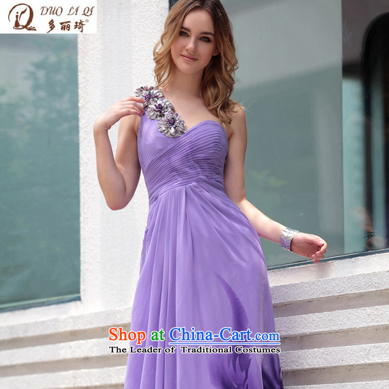Doris Qi purple reception banquet bride bridesmaid evening dress western dress 30657 purple聽L