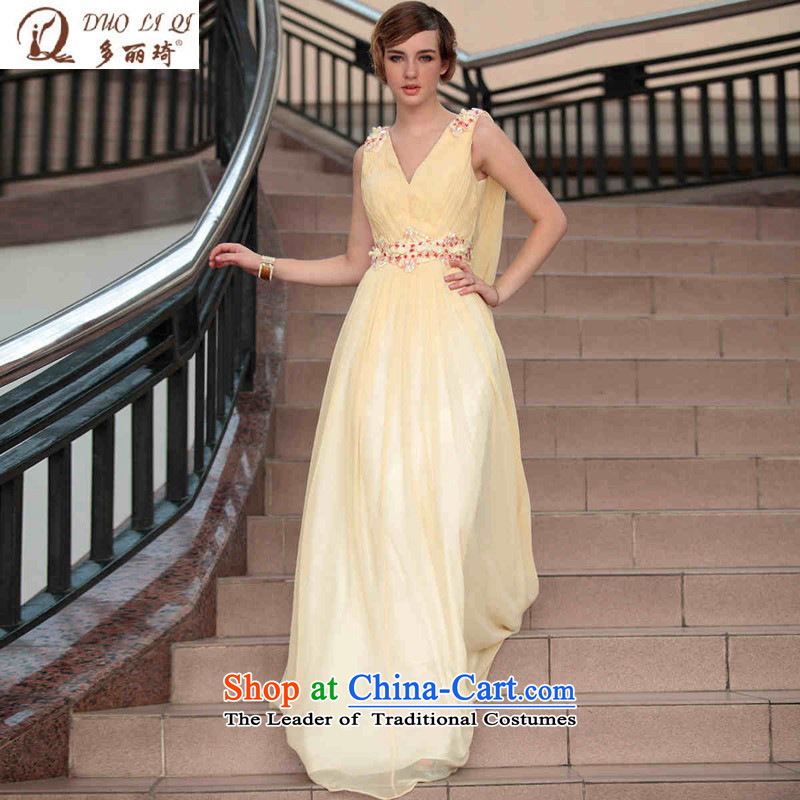 Doris Qi township embroidered evening dresses bows services under the auspices of the wearing yellow?XXL