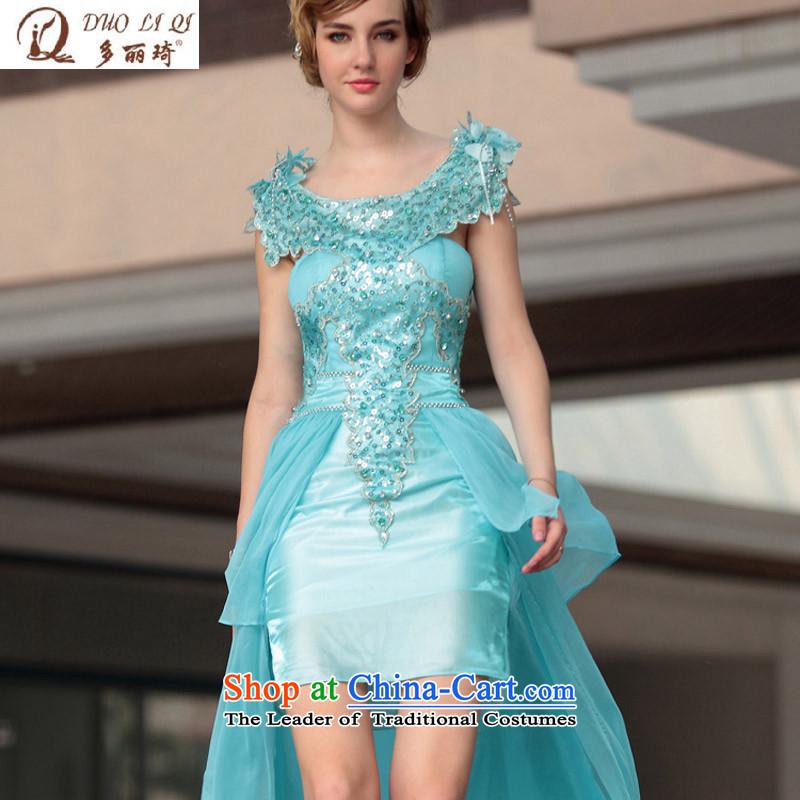 Doris Qi dress sexy dress tail-dress western foreign trade dress 30661 blueXXL