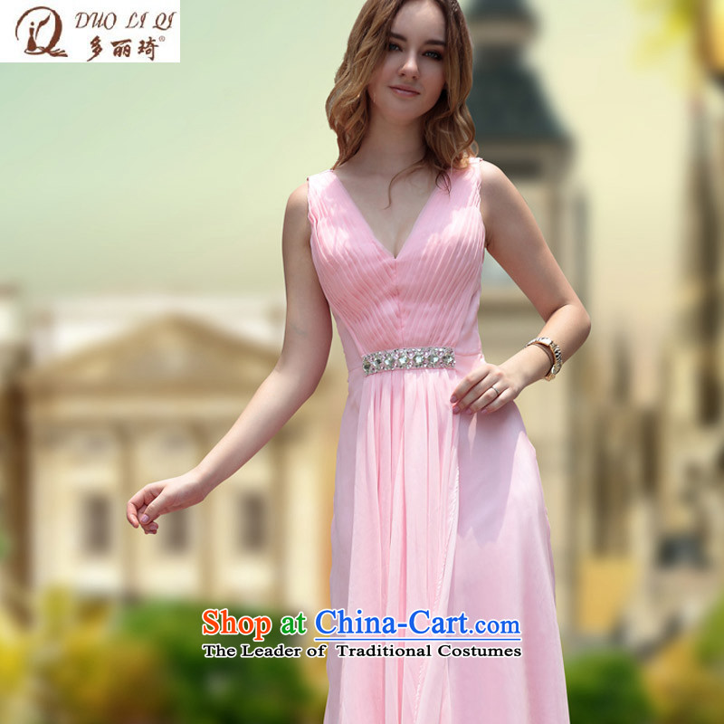 Doris Qi pink shoulders deep V dress temperament Sau San tail reception marriage bridesmaid bows dress measured 30,672 pink L