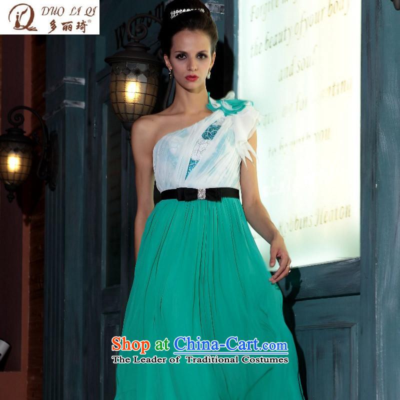 Doris Qi western dress shoulder green dress dinner dress winter long gown advanced Sau San wedding green�XL