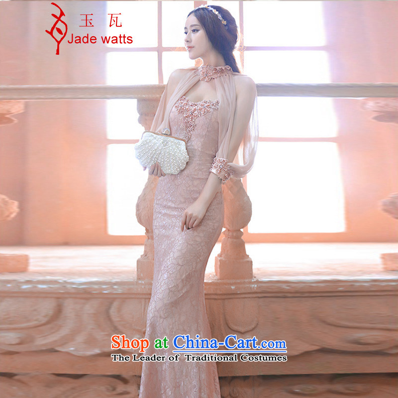 Yuk-chun, 2015 watt bride evening dresses bridesmaid dress luxury nail pearl crowsfoot suits long skirt 3050 and pink A M to large