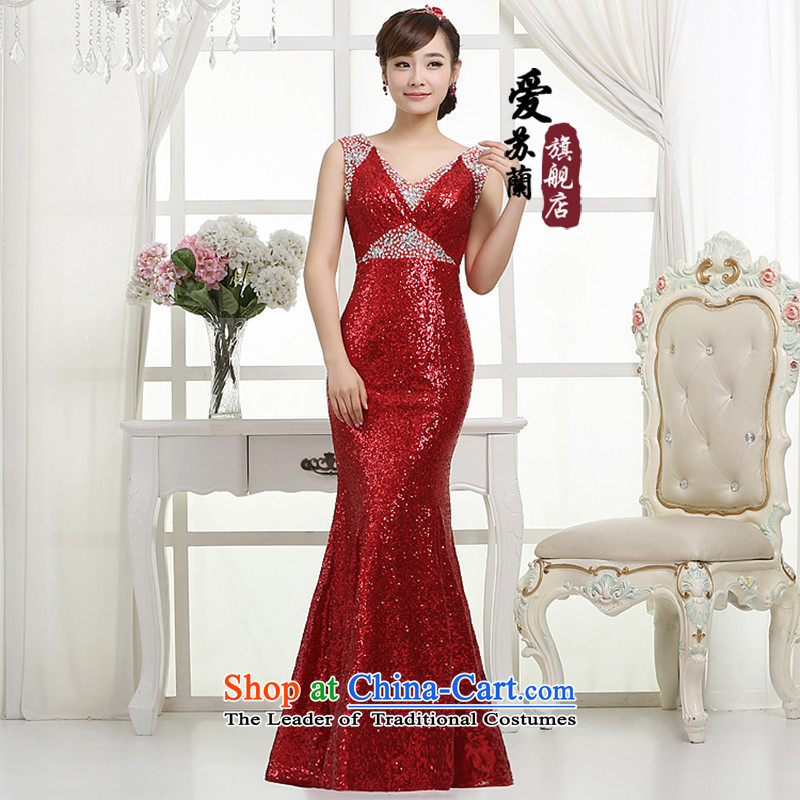 The new wine into gown bridal dresses bridesmaid banquet on long dresses dress performances banquet dress red?XXXL