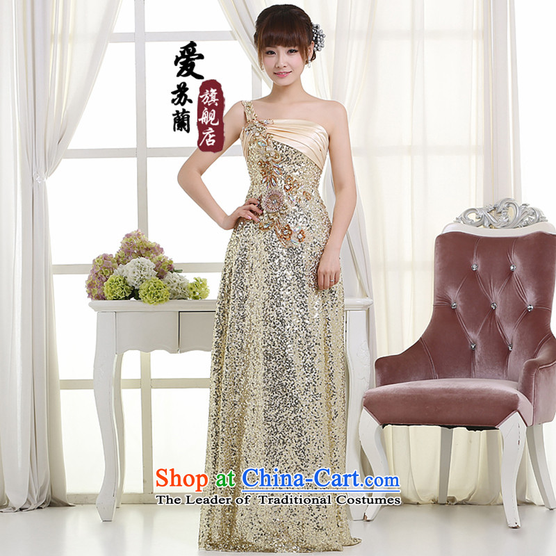 New bridesmaid dress long dresses on-chip shoulder crowsfoot dress bows bridesmaid dress pale yellow聽XXL