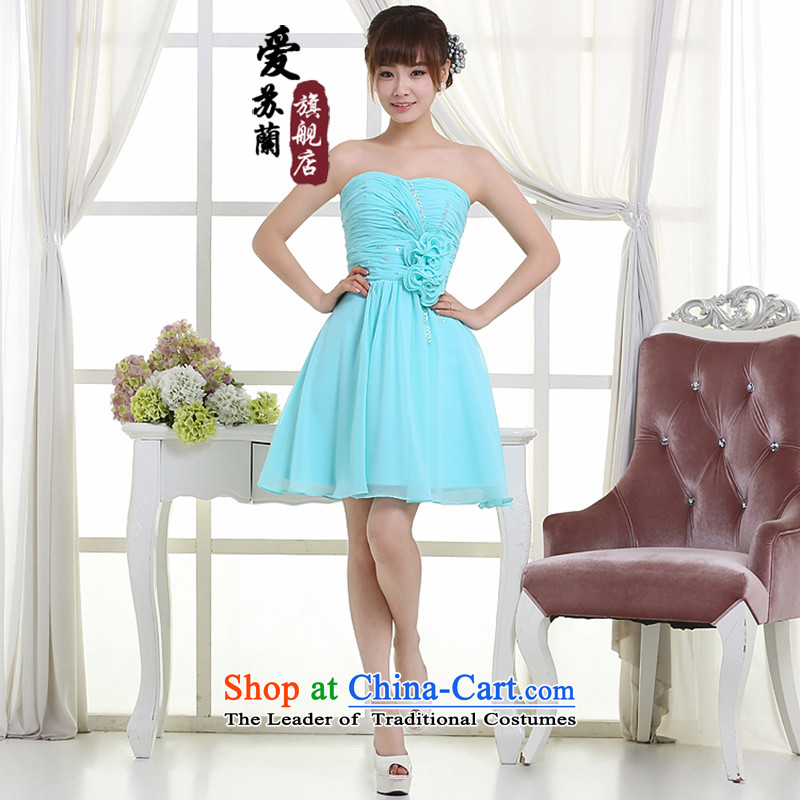 New dress married women dress bridesmaid dress banquet dress bows dress bridal dresses, blue short XL