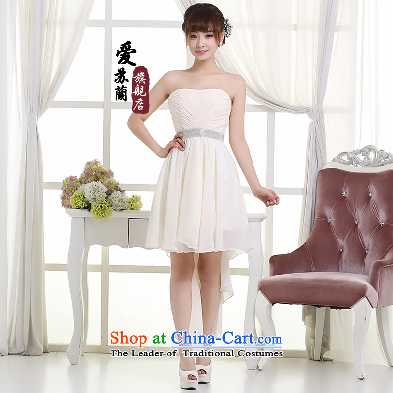 New dress front stub after gown chiffon fabric material dress simply lovely pale yellow dress?L