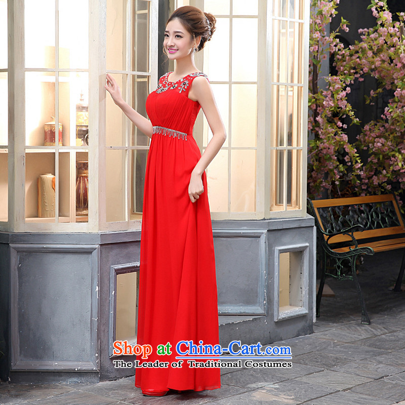 Kaki-hi-won The Princess Bride of diamond ornaments and sexy long new 2015 autumn and winter lace shoulders bridesmaid to X011 Red聽M