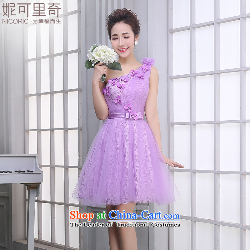 Winter bridesmaid small banquet Dress Suit 2015 new purple short) bridesmaid mission sister skirt annual light purple A of the dresses shoulder T14009 XXL( video thin dress)