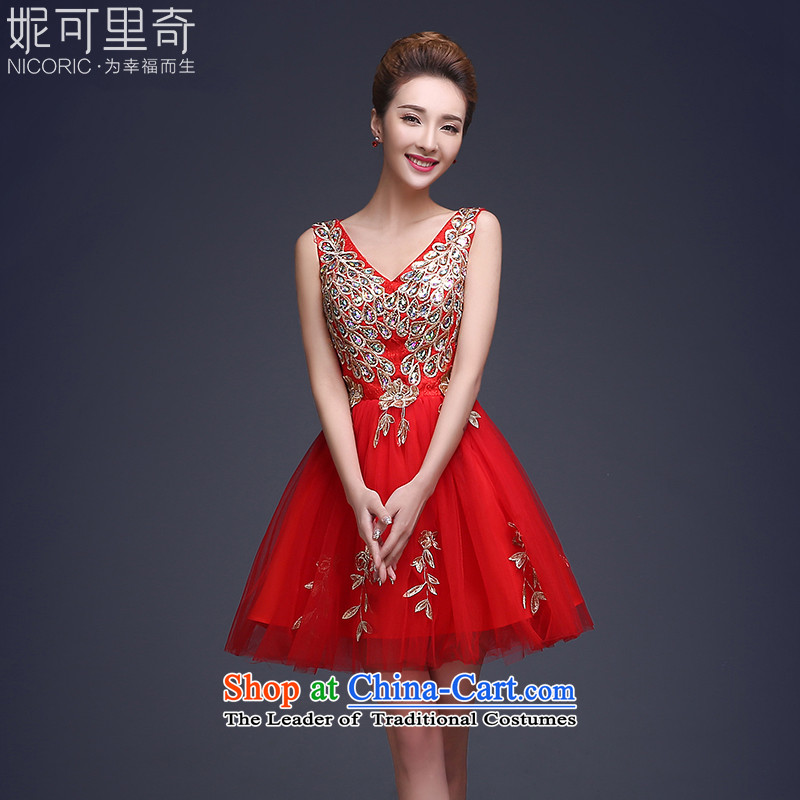 The autumn 2015 Autumn serving bows new 2 deep V bride toasting champagne shoulder red short of services and the small dining dress diamond dress female winter red?XL( shoulders wing noble and elegant)
