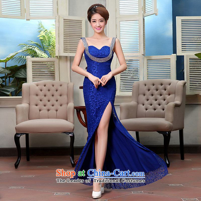 Hei Kaki wedding dresses new 2015 autumn and winter stylish shoulders irrepressible sexy dress will serve dinner serving X0006 bridesmaid blue?L