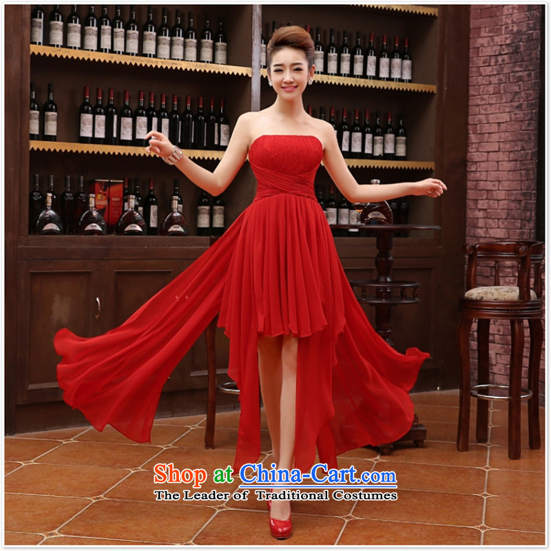 Charlene Choi Ling marriage wedding dresses short) equipped bridesmaid to bind with short of marriage evening dresses marriage small red dress�XL