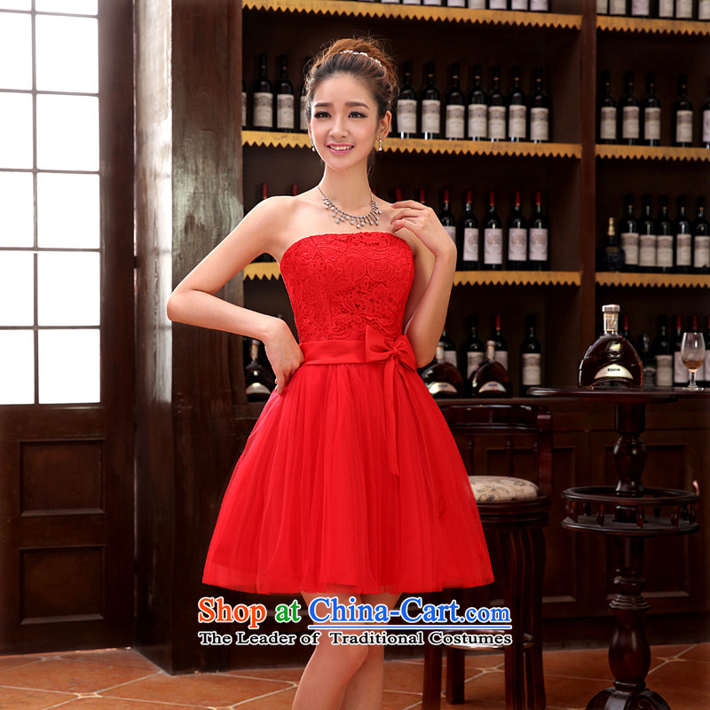 2015 new sister bridesmaid mission bridesmaid dress lace anointed chest bow ties small dress evening dress Korean Red?XL