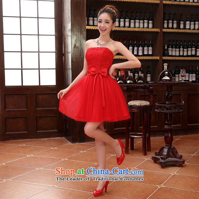 2015 new sister bridesmaid mission bridesmaid dress lace anointed chest bow ties small dress evening dress Korean Red XL, Charlene Choi spirit has been pressed shopping on the Internet