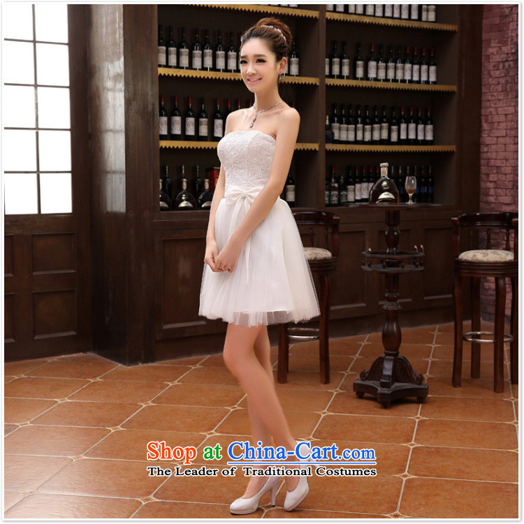 Short of bridesmaid small dress skirt marriages wedding dress stylish lace bows serving dinner serving bridesmaid White XXL picture, prices, brand platters! The elections are supplied in the national character of distribution, so action, buy now enjoy more preferential! As soon as possible.
